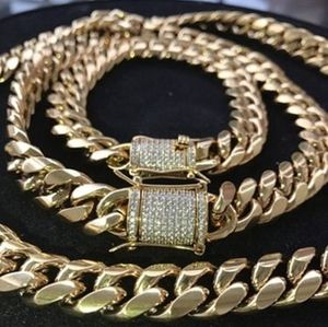 18k gold plated necklace Miami Cuban link chain